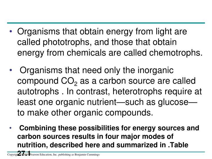 Organisms that obtain energy from light are called phototrophs, and those that obtain energy from chemicals are called chemotrophs.