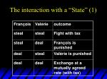 the interaction with a state 1