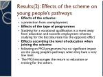 results 2 effects of the scheme on young people s pathways1