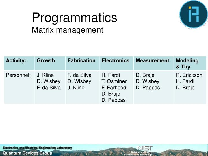 Programmatics matrix management