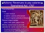 actions revenues to pay salaries townshend act 1767