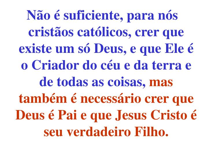 Não é suficiente, para nós cristãos católicos, crer que existe um só Deus, e que Ele é o Cria...