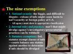 the nine exemptions