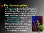 the nine exemptions1