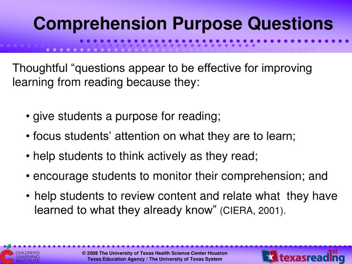 Comprehension Purpose Questions