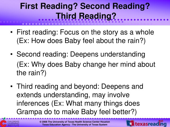 First Reading? Second Reading?