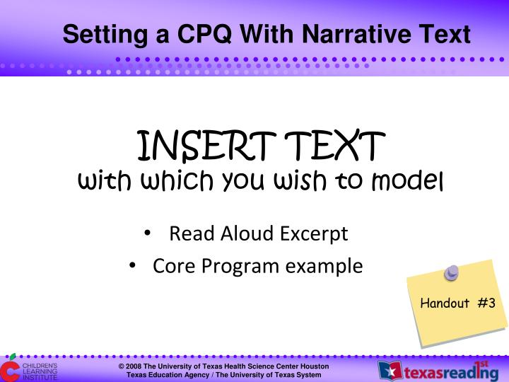 Setting a CPQ With Narrative Text