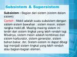 subsistem supersistem