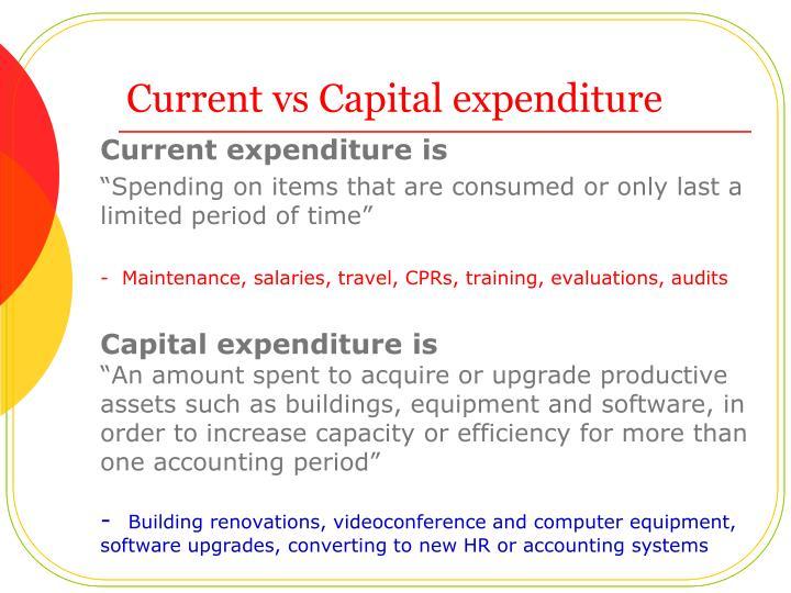 Current vs Capital expenditure
