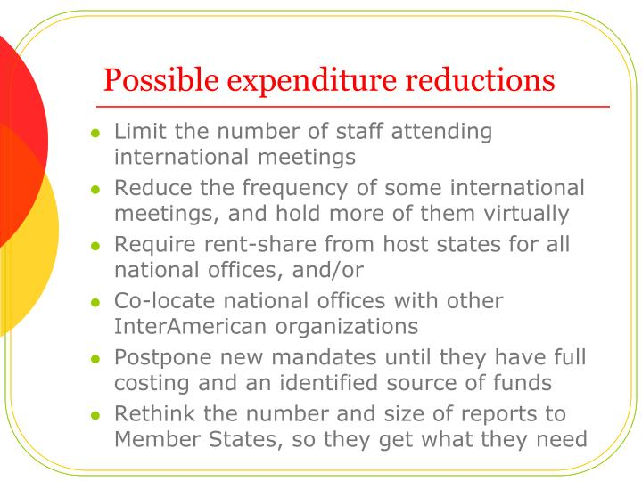 Possible expenditure reductions