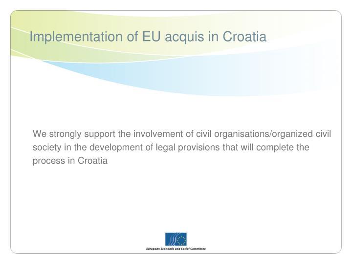 Implementation of EU acquis in Croatia