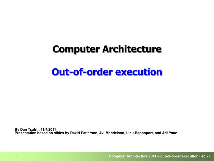 computer architecture out of order execution n.