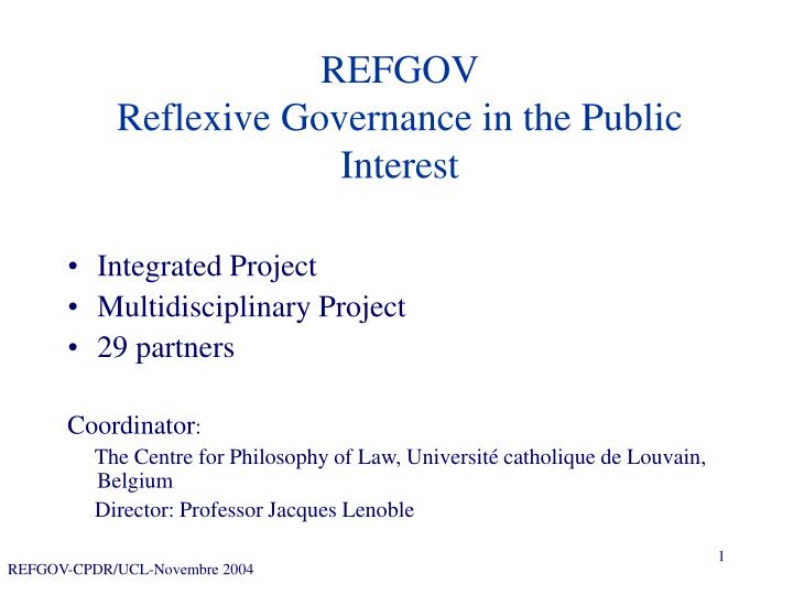 Refgov reflexive governance in the public interest