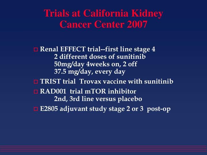Trials at California Kidney Cancer Center 2007