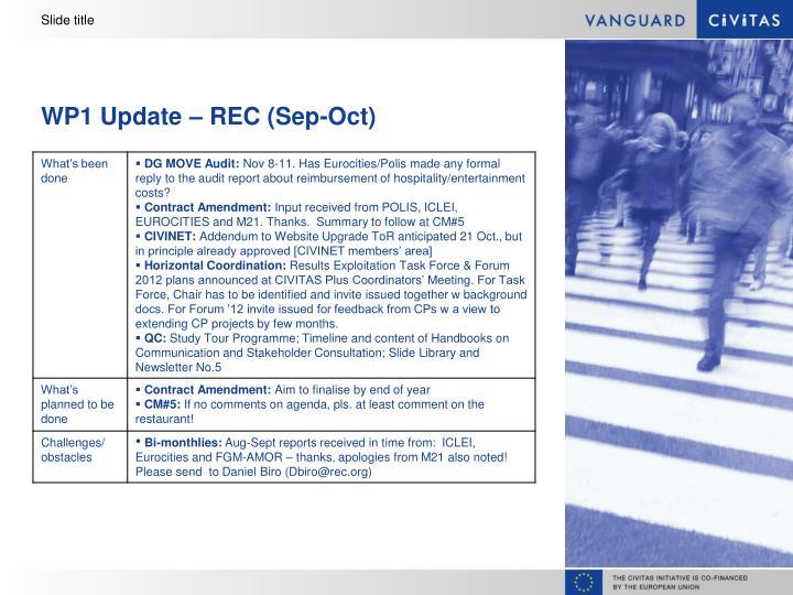 Wp1 update rec sep oct