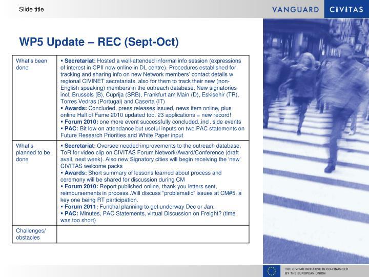 Wp5 update rec sept oct
