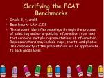 clarifying the fcat benchmarks