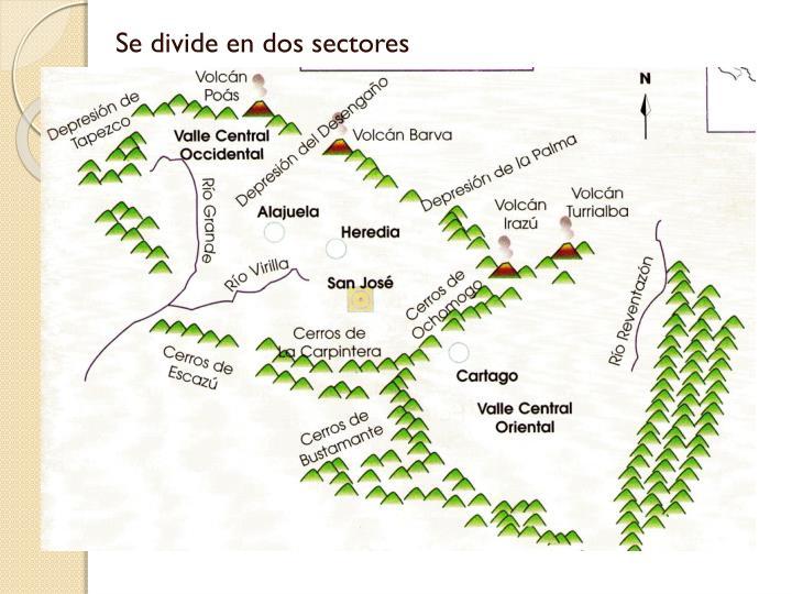 Se divide en dos sectores