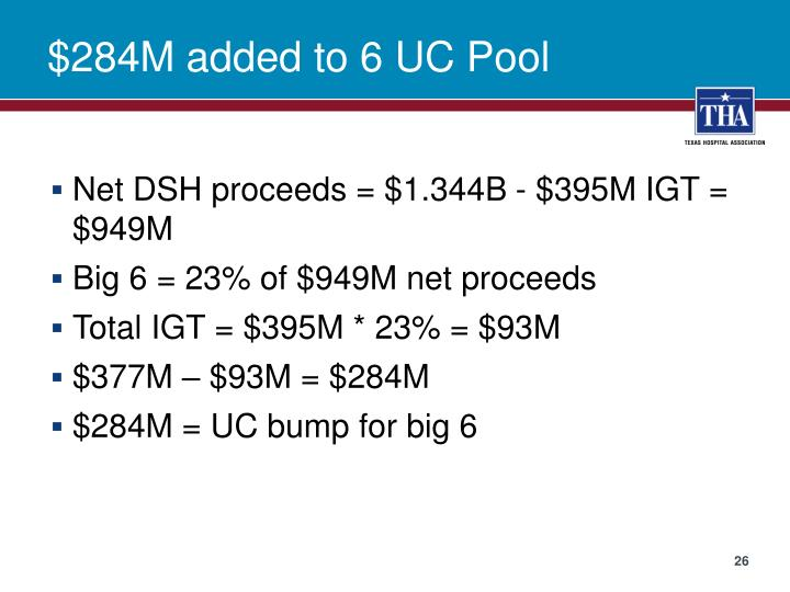 $284M added to 6 UC Pool