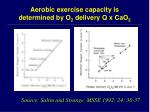 aerobic exercise capacity is determined by o 2 delivery q x cao 2
