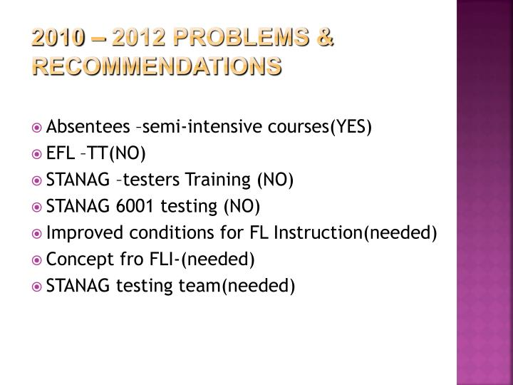 2010 – 2012 problems & recommendations