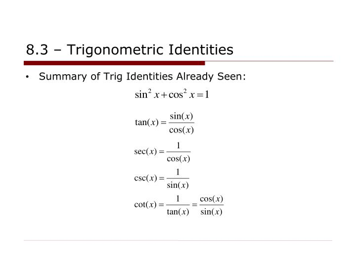 8 3 trigonometric identities