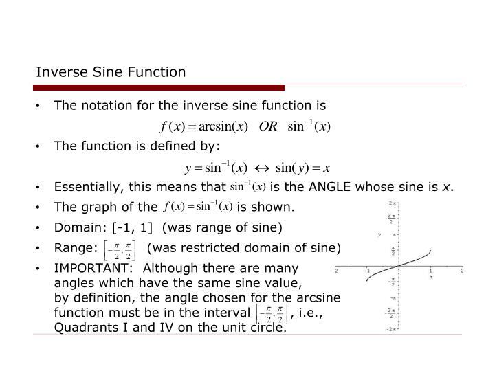 Inverse Sine Function