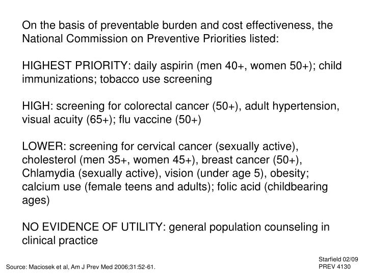 On the basis of preventable burden and cost effectiveness, the National Commission on Preventive Priorities listed: