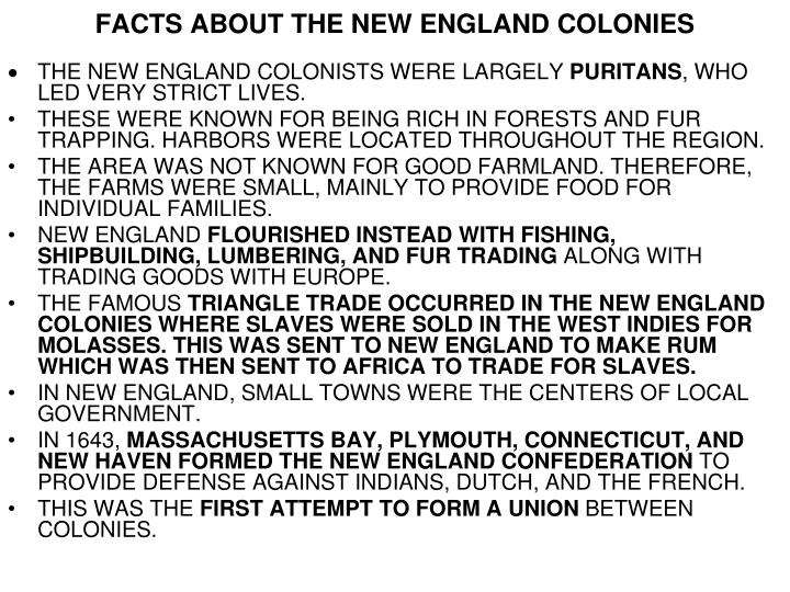 new england colonies facts