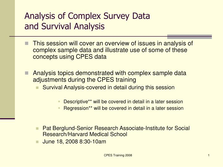 analysis of complex survey data and survival analysis n.