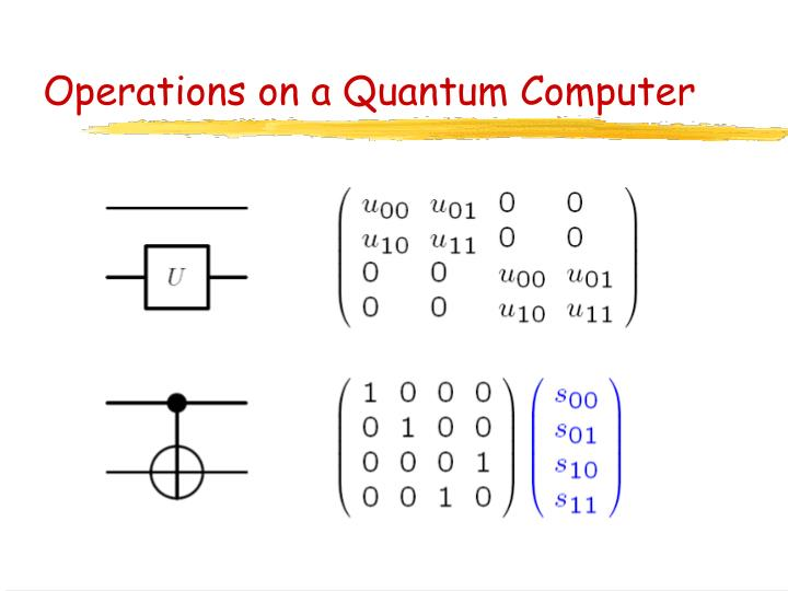 Operations on a Quantum Computer