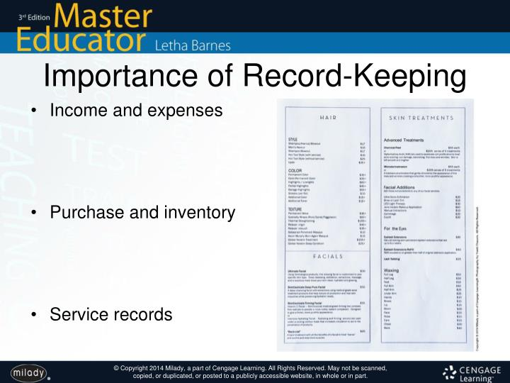 Importance of Record-Keeping