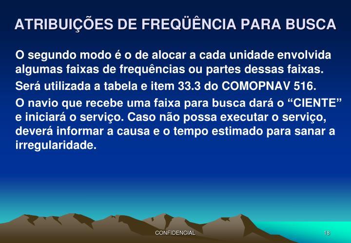 ATRIBUIÇÕES DE FREQÜÊNCIA PARA BUSCA