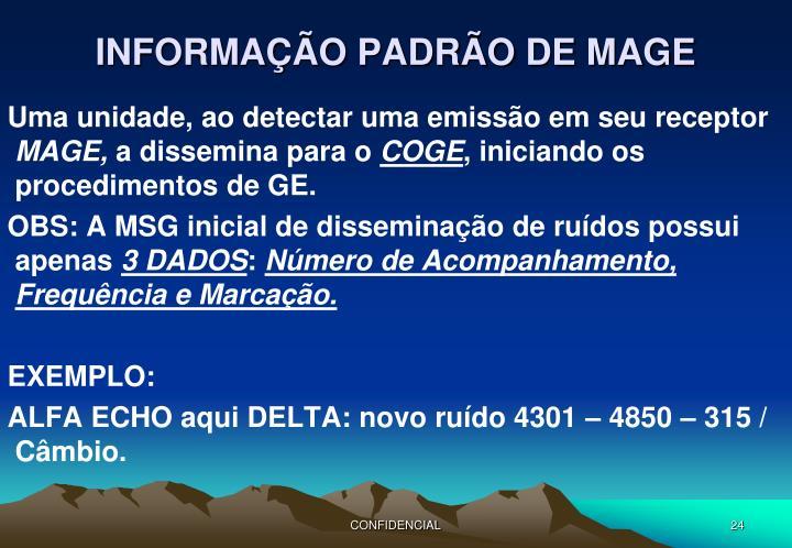 INFORMAÇÃO PADRÃO DE MAGE