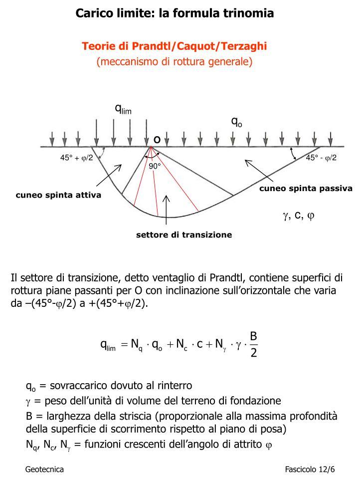 Carico limite: la formula trinomia