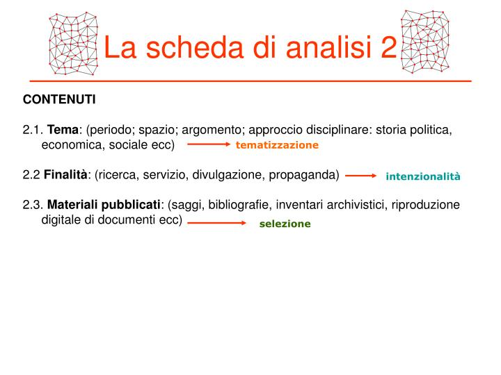 La scheda di analisi 2