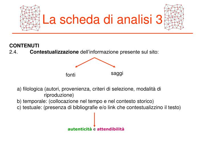 La scheda di analisi 3