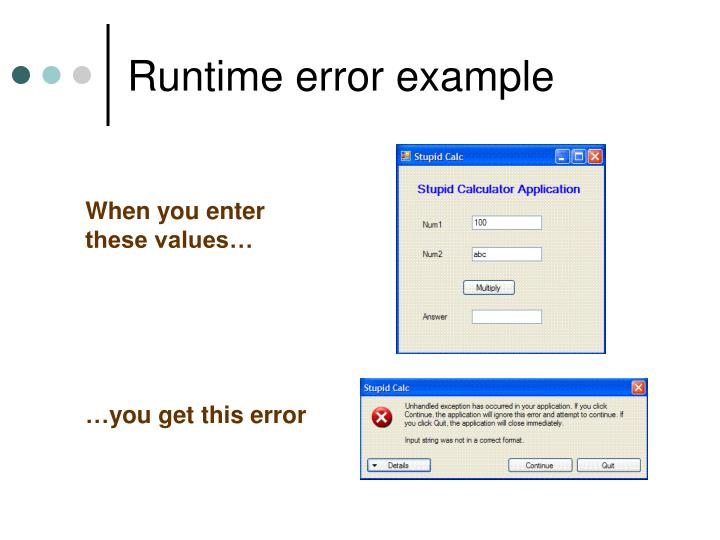 Runtime error example