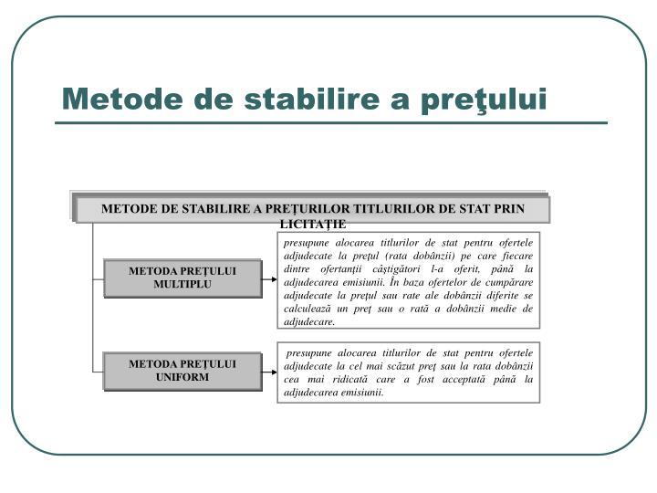 METODE DE STABILIRE A PREŢURILOR TITLURILOR DE STAT PRIN LICITAŢIE