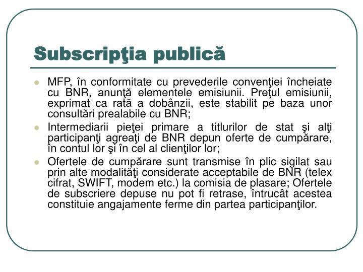 Subscripţia publică