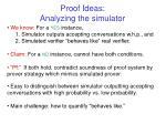 proof ideas analyzing the simulator