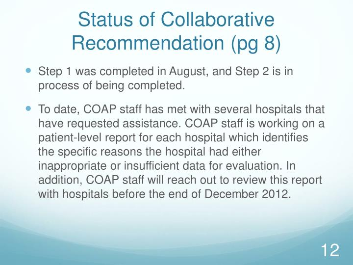 Status of Collaborative