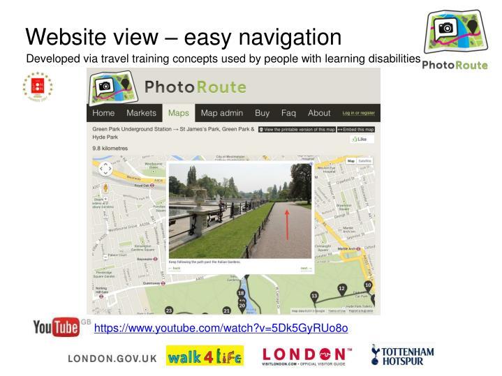 Website view – easy navigation