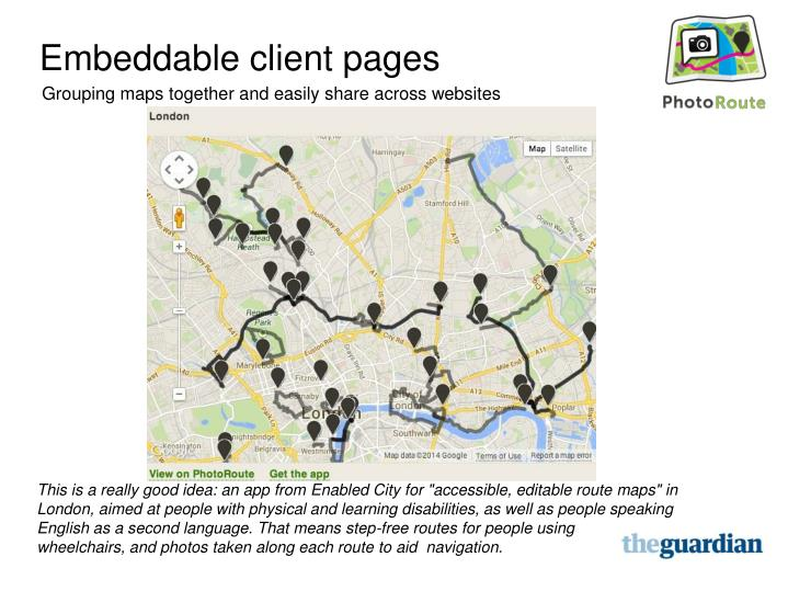 Embeddable client pages