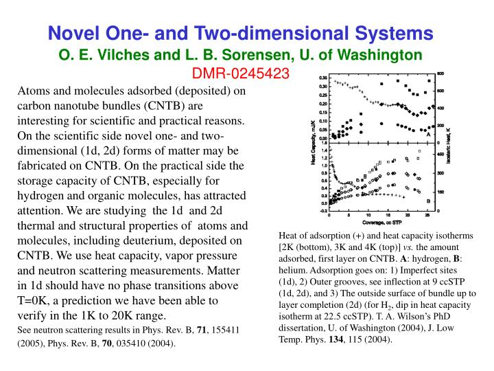 Novel one and two dimensional systems o e vilches and l b sorensen u of washington dmr 0245423