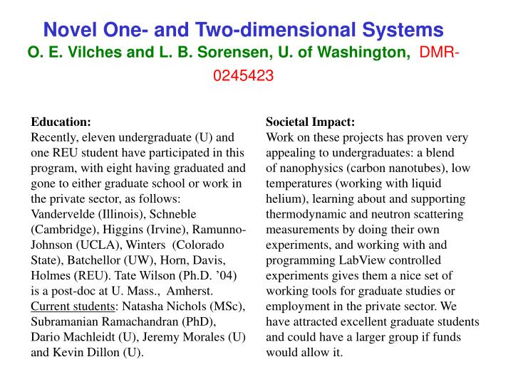 Novel one and two dimensional systems o e vilches and l b sorensen u of washington dmr 02454231