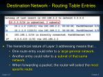 destination network routing table entries
