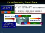 packet forwarding default route