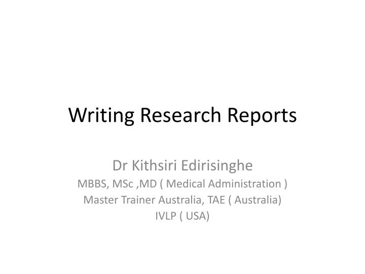 writing research r eports n.