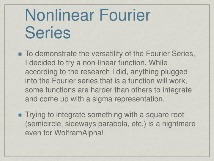 Nonlinear Fourier Series